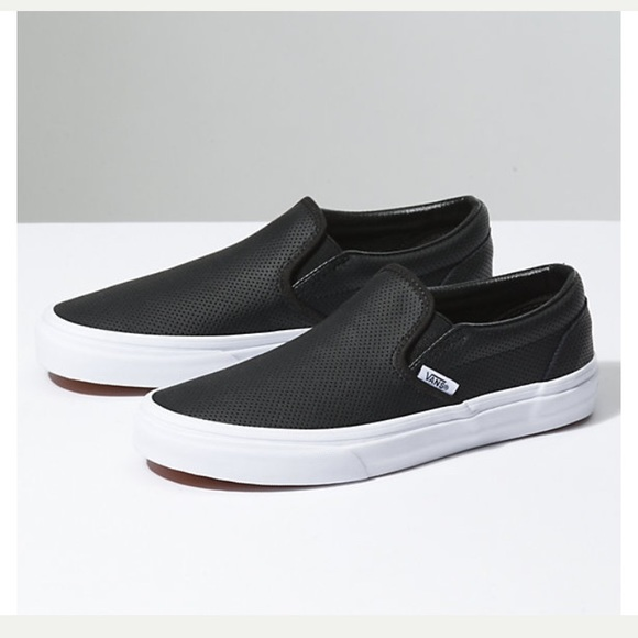 890f8f1f9a9a55 VANS Women s Asher Perforated Leather Slip On 8. M 5a8082538af1c5b21c68c5d6